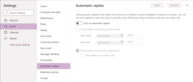 Out of office auto reply. Automatic replies screenshot.