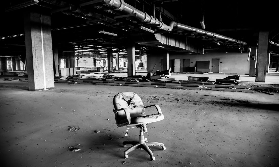 Derelict office building, all workers are out of the office.