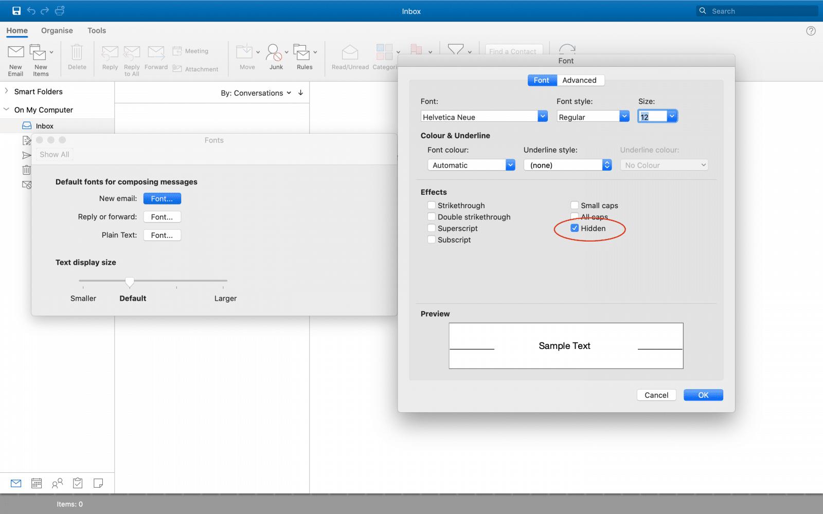 Outlook 2019 Mac Default Font Editor Remove Hidden Formatting Marks