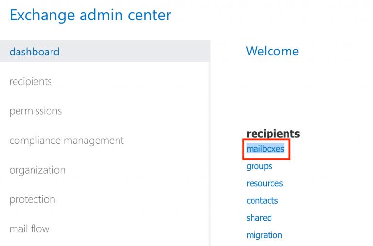 Microsoft 365 admin center. Recipients.